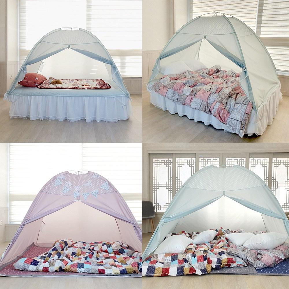 원터치방한 보온 실내 원터치난방 침대 텐트, 민트
