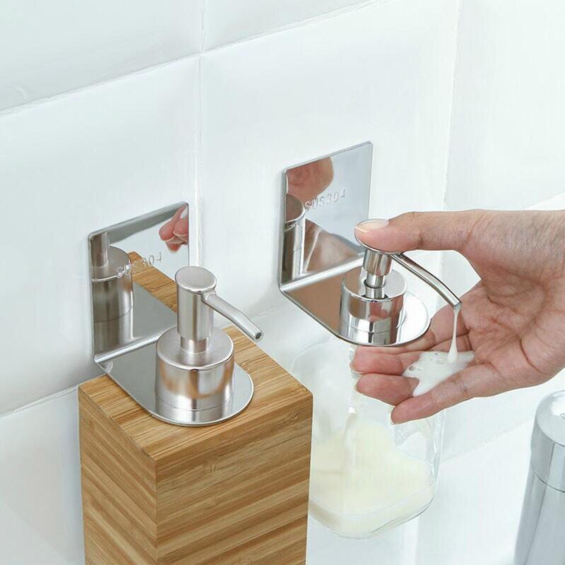 욕실 거치 대 면타 공 화장실 벽 걸 이 샴푸 샤워 젤 병 세수 액 홀더 304 스 테 인 리 스 스틸 면못 스 크 래 치 크기 / 세트