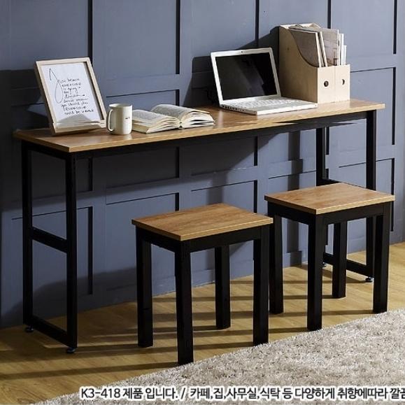 동화나무 조립식 철제 멀바우 일자형 조립 서재 선반 테이블 책상, 07.테이블1200(상판:아카시아/다리:블랙)