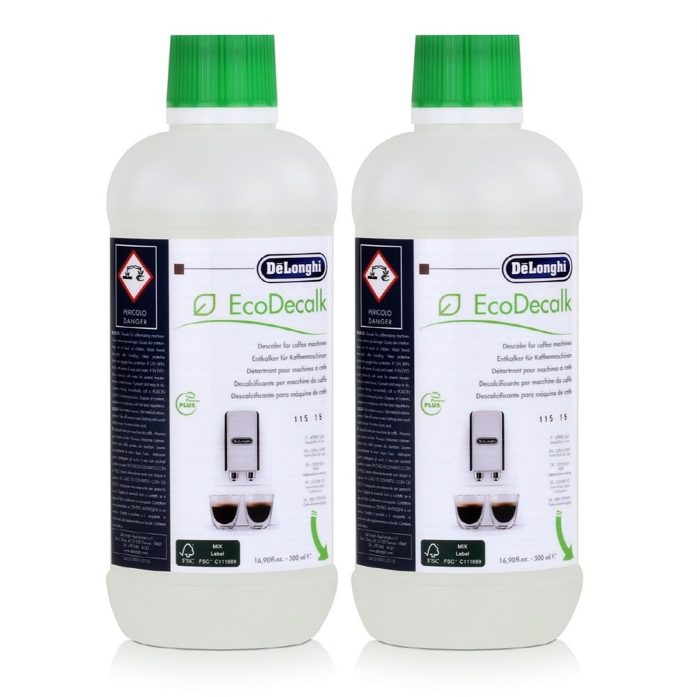 드롱기 DeLonghi EcoDecalk DLSC500 500ml 커피머신 청소 물때 석회질 스케일 제거 세척 세정제 세척액 용액 석회 제거제 2개입