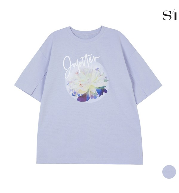 씨 소매 절개 플라워 프린트 티셔츠 (SXIBF9861)