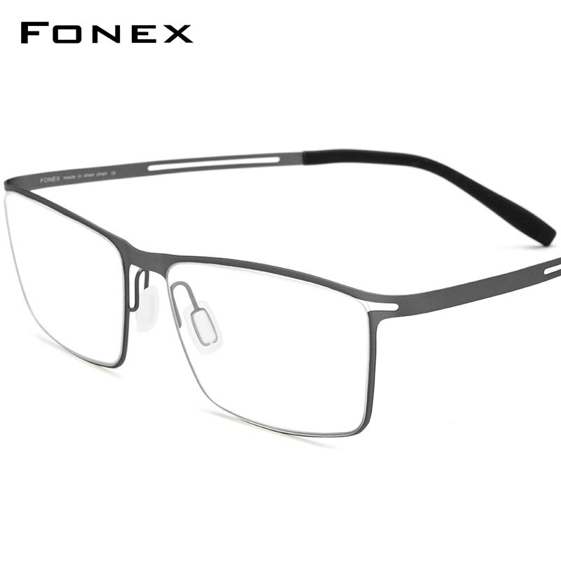 FONEX 남자 초경량 베타 티타늄 접히는 안경테 4.5g 사각형 가벼운 유연한
