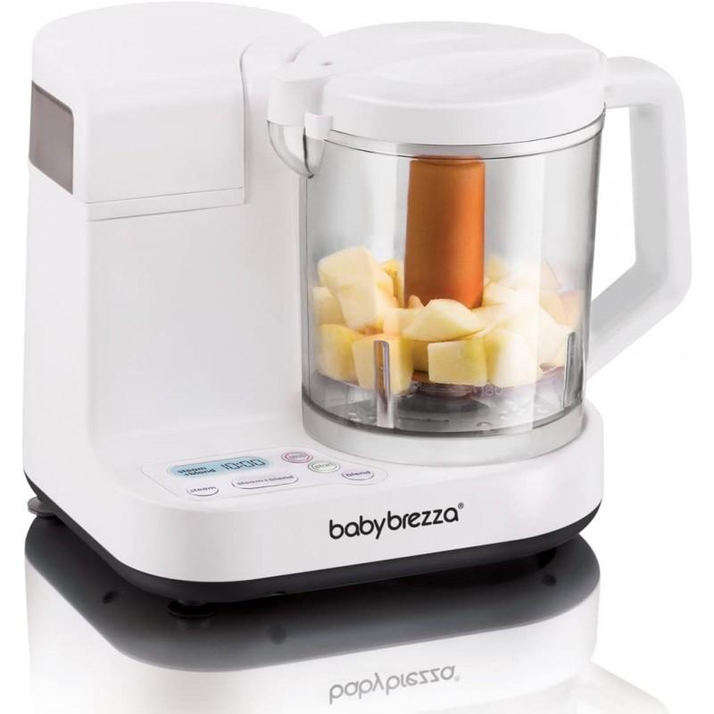 Baby Brezza Glass 이유식 메이커 – 쿠커와 블렌더를 사용하여 유리 그릇에 담긴 파우치 용 이유식 찜 및 퓨레-영유아를위한, 단일옵션