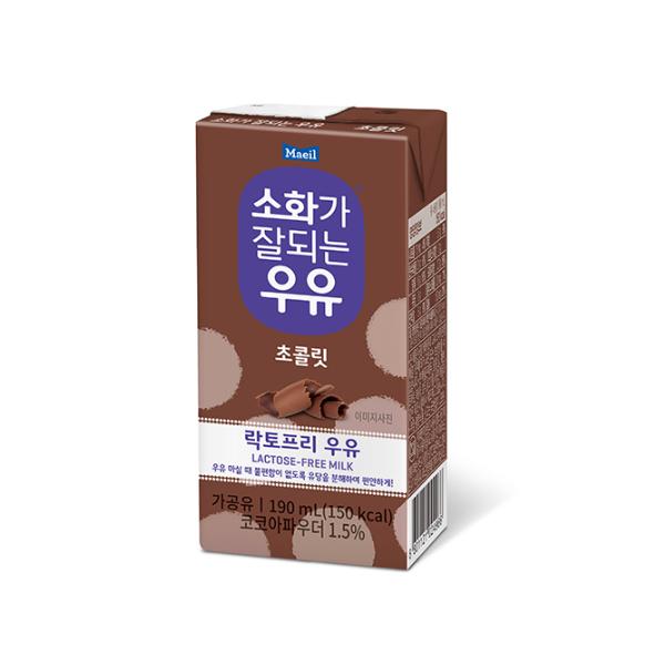 매일유업 소화가잘되는우유 초코우유 190mlx24팩 락토프리 멸균우유, 24개, 190ml