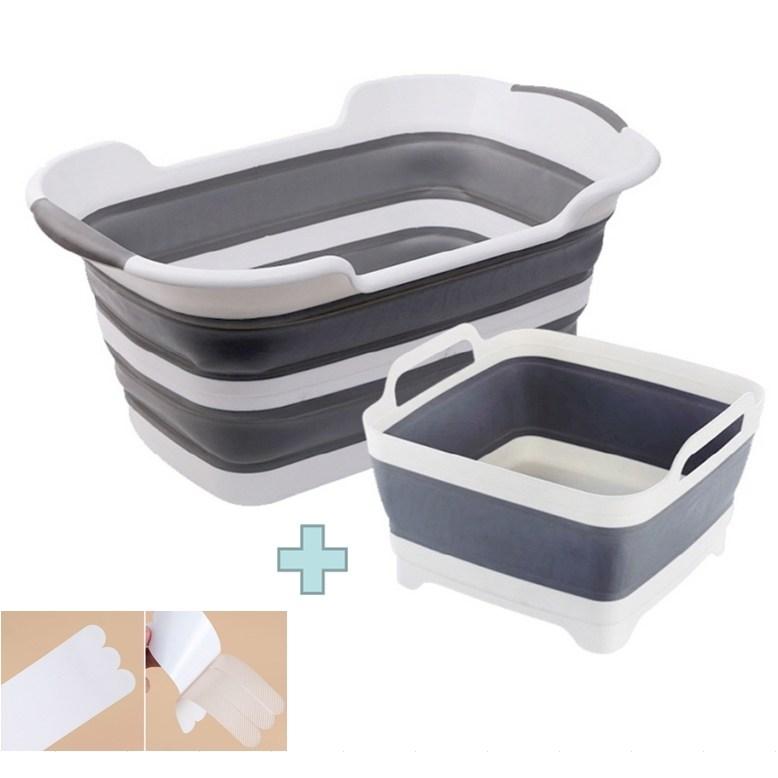 리라 접이식애견욕조 목욕탕 강아지욕조 미끄럼방지 테이프 세트, 그레이+미끄럼방지테이프 (POP 4327876779)
