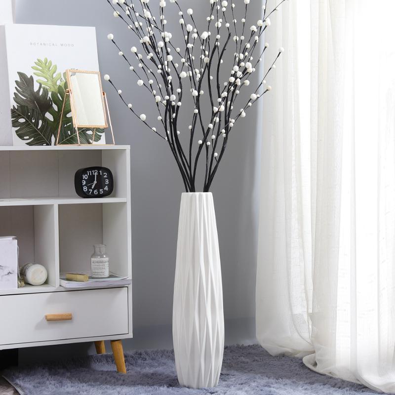 세라믹 꽃병 10각 디자인 실내 인테리어 화병, 화이트