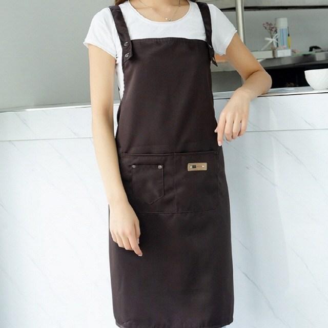 홈씽세상 카페 바리스타 어린이집 미용 주방 공방 작업용 방수 예쁜 앞치마, B: H형 진한커피