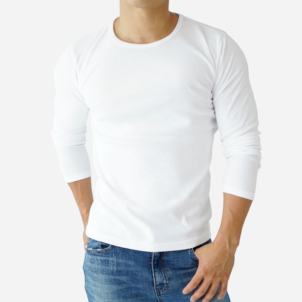 스타토리 짱짱한 면 스판 라운드 긴팔티셔츠 쫄티 슬림핏 무지티 긴팔 티셔츠