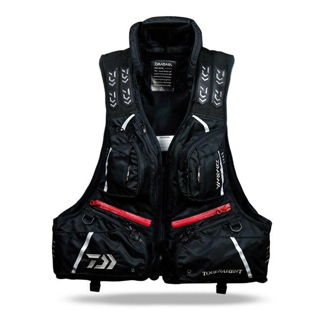 Daiwa 야외 낚시 조끼 통기성 Windproof 태클 전문 구명 남자 멀티 포켓 자켓, Black