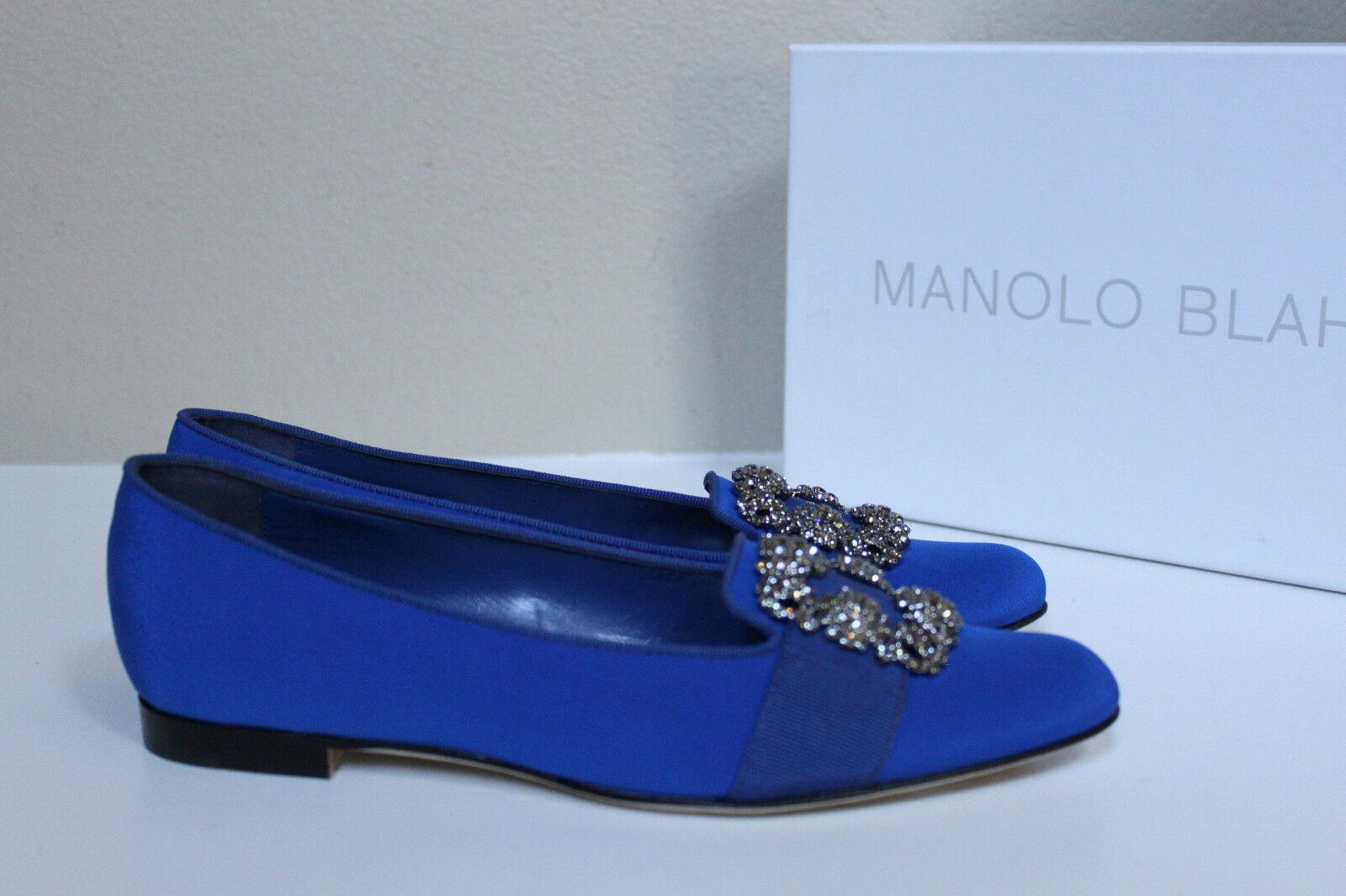 6 / 36 Manolo Blahnik Blue Marria Crêpe De Chine Hangisi Brooch Jewel Flat Shoes