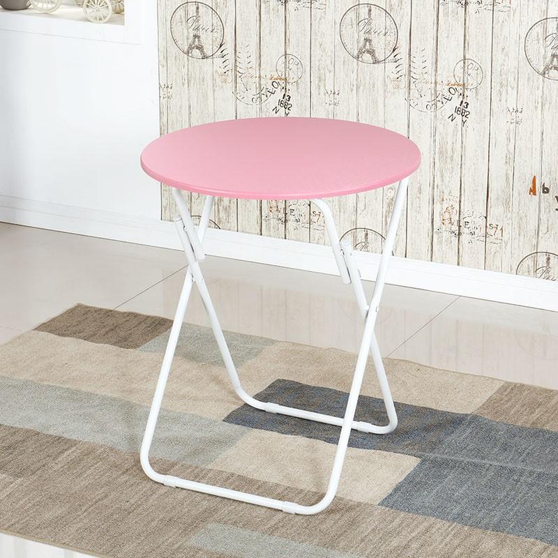 접이식식탁 H접이식탁자 식탁 가정용 작은식탁테이블 휴대용 실외 접이식 노상테이블 기숙사 심플 소형둥근테이블, T14-원형화이트 핑크 테이블(직경 70* 높이 71cm)