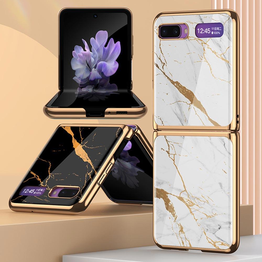 UNIQBLE 갤럭시Z플립 심플 이쁜 자개 대리석 마블 패턴 골드라인 강화유리 글라스 하드 휴대폰 케이스