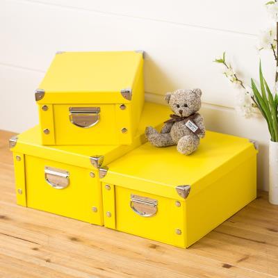 소품수납함 종이 수납함 옷 수납 종이상자, C02-노란색, T04-26*26*22CM(적합사용 CD손잡이없음)