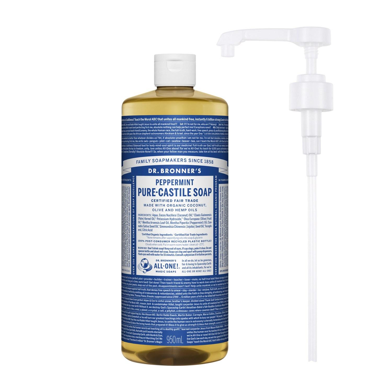 닥터브로너스 퓨어 캐스틸 솝 페퍼민트 950ml + 전용펌프, 단품