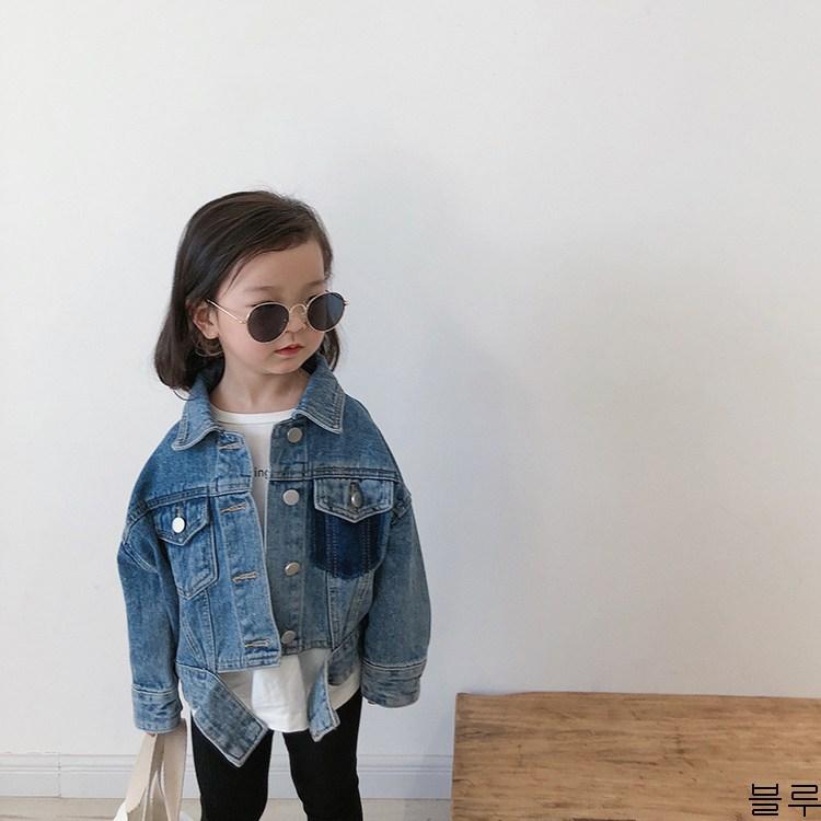 굿데이 컴퍼니 여아 캐주얼 봄 가을 얇은 데님재킷 아동 바람막이 청점퍼 패션 코트 lGNW14