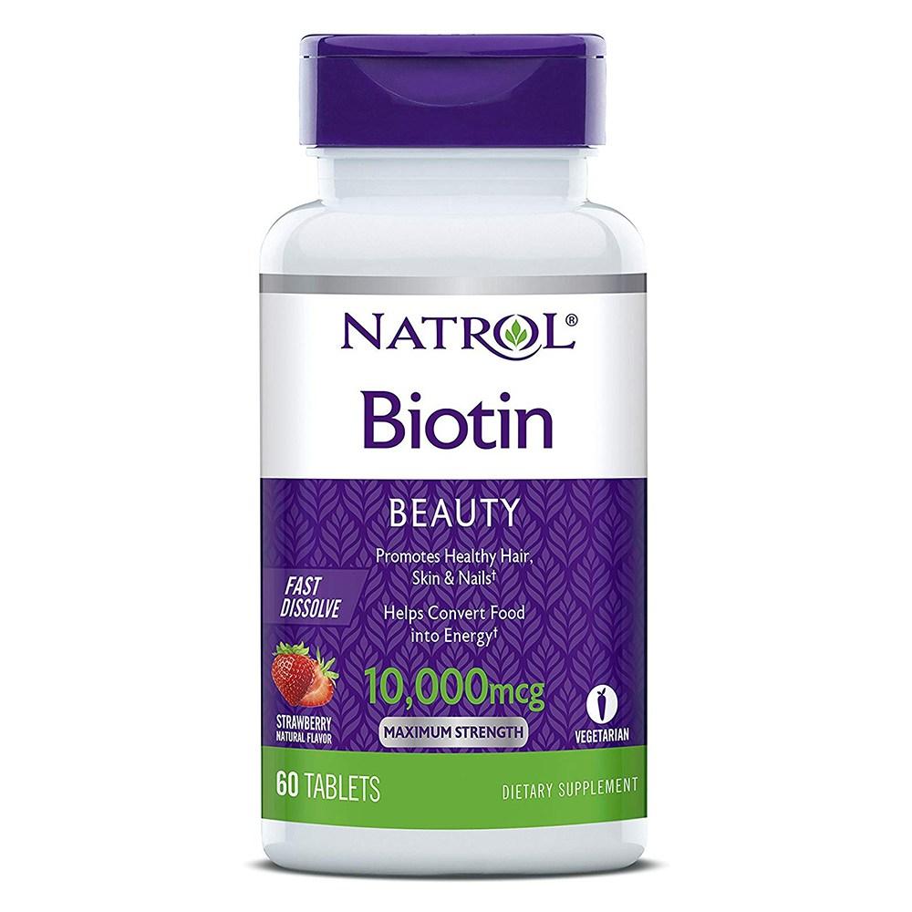 Natrol 나트롤 비오틴 10000mcg 60정(2개월분) 딸기맛, 60정, 1개