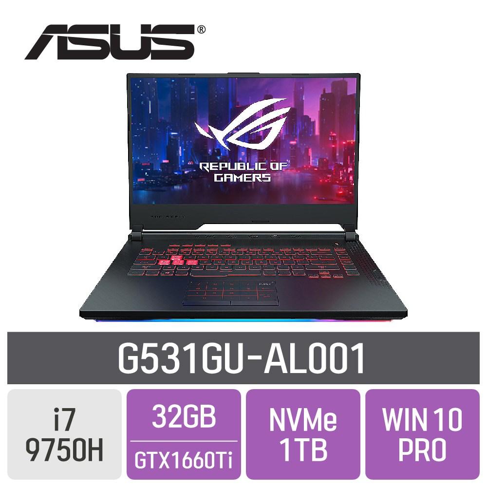 ASUS ROG 게이밍 G531GU-AL001, 32GB, SSD 1TB, 포함
