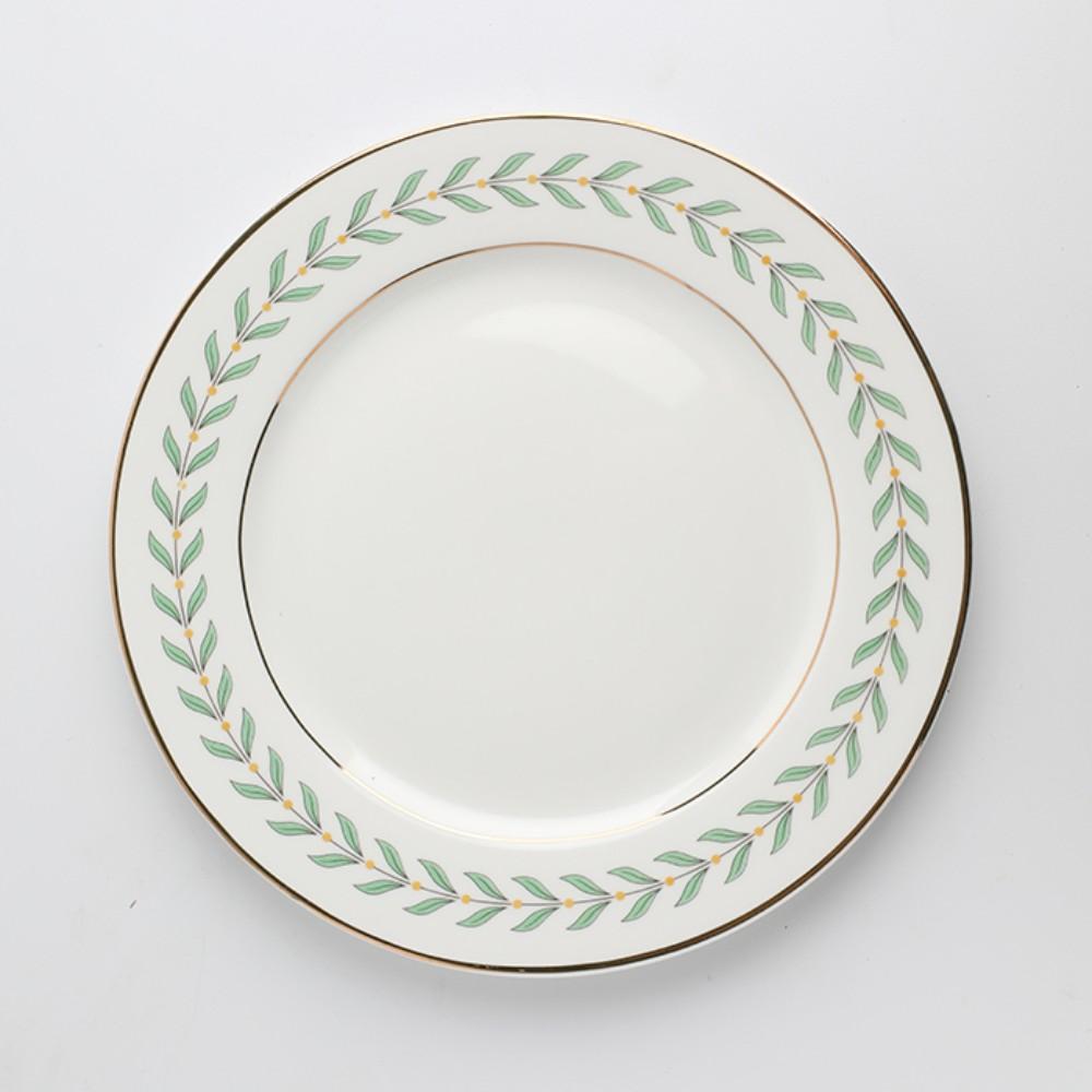 빈티지접시 나뭇잎플레이팅 엔틱그릇 찻잔 플레이트 8인치, 접시 (그린)