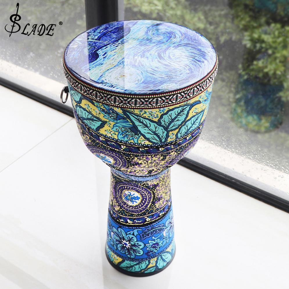 8 인치 아름 다운 아프리카 Djembe 드럼 다채로운 천으로 아트 ABS 배럴 PVC 피부 소형 손 드럼 악기