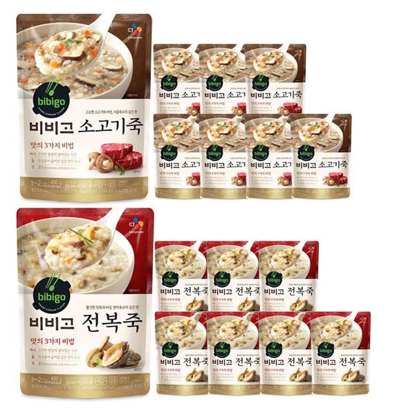CJ 비비고죽 450g 8개(전복4+소고기4), 16개