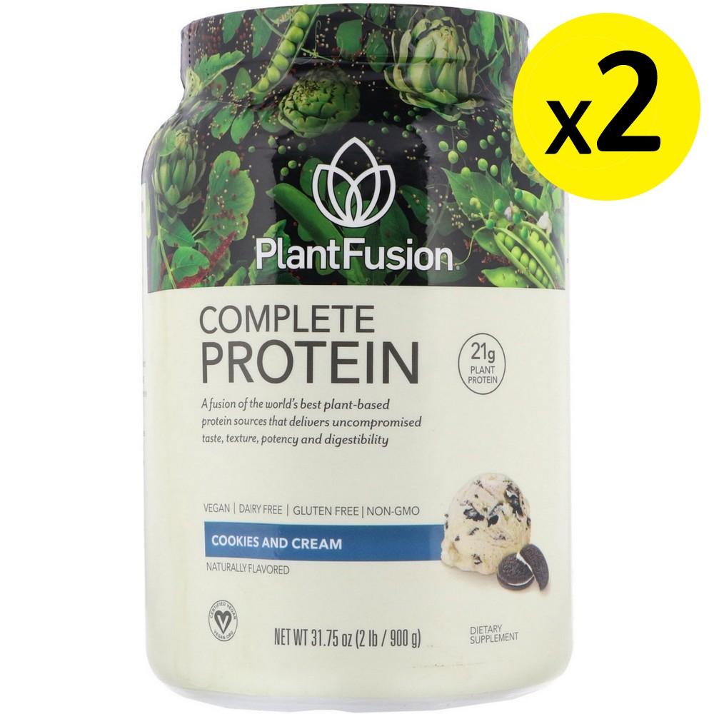 [미국직구]PlantFusion 컴플리트 프로틴 쿠키 앤 크림 900g(2lb) 2개, 선택, 상세설명참조