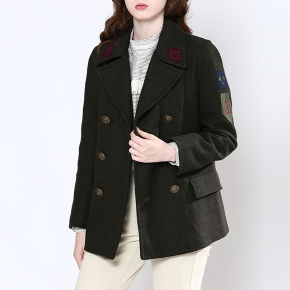 써스데이 아일랜드 여성 울 모직 더블 하프 코트 오버핏 루즈핏 빈티지 자켓