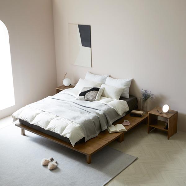 라움 에일리 무헤드 침대 평상형 저상형 침대프레임, 에일리협탁