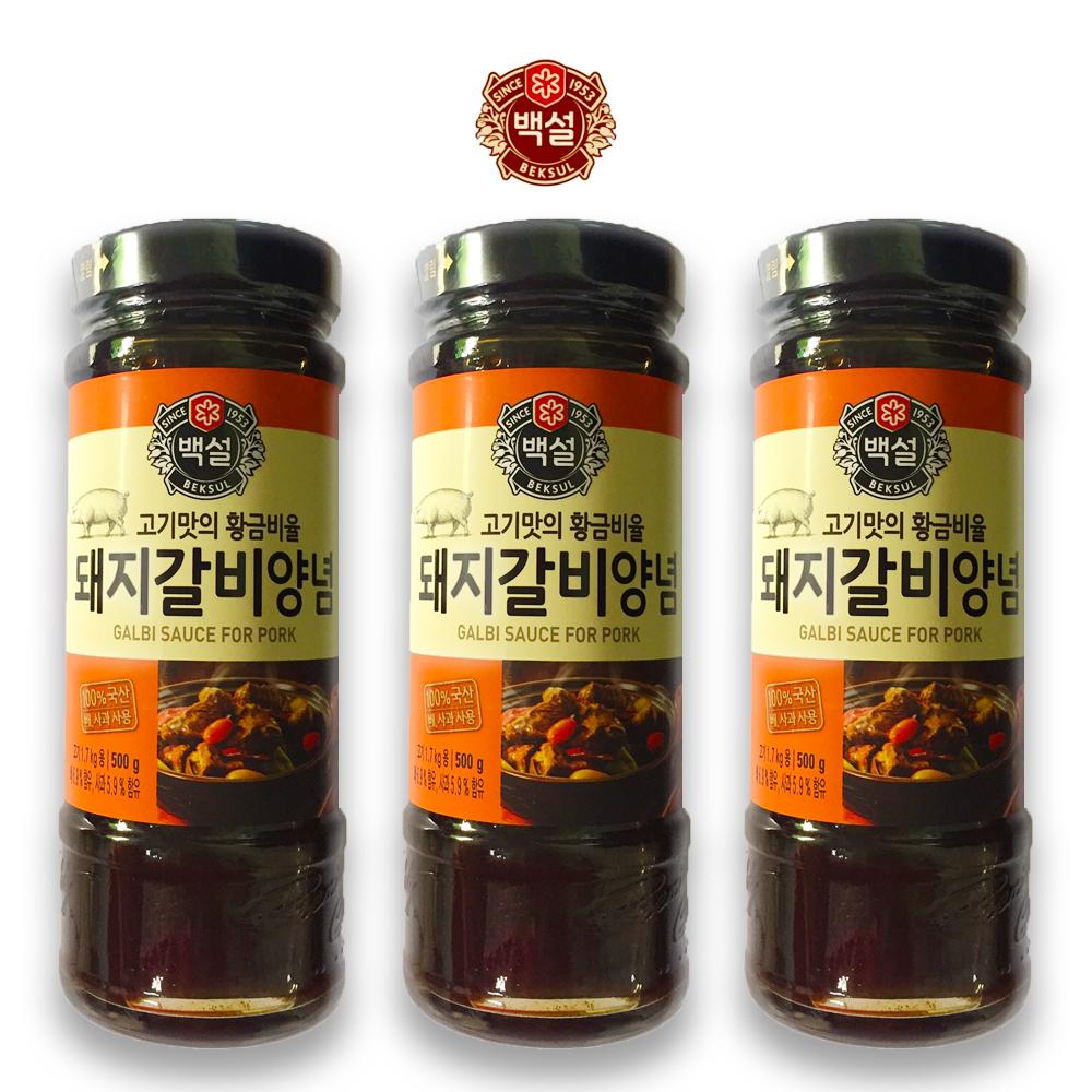 예이니식품 CJ 백설 돼지갈비 양념 3개(500gx3개) 여행간편요리소스조림볶음, 500g, 3개