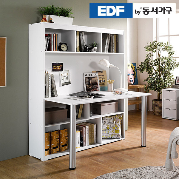 [동서가구] EDFby올리브 1230 전면 책상 책장 세트 DF636004, 색상:화이트