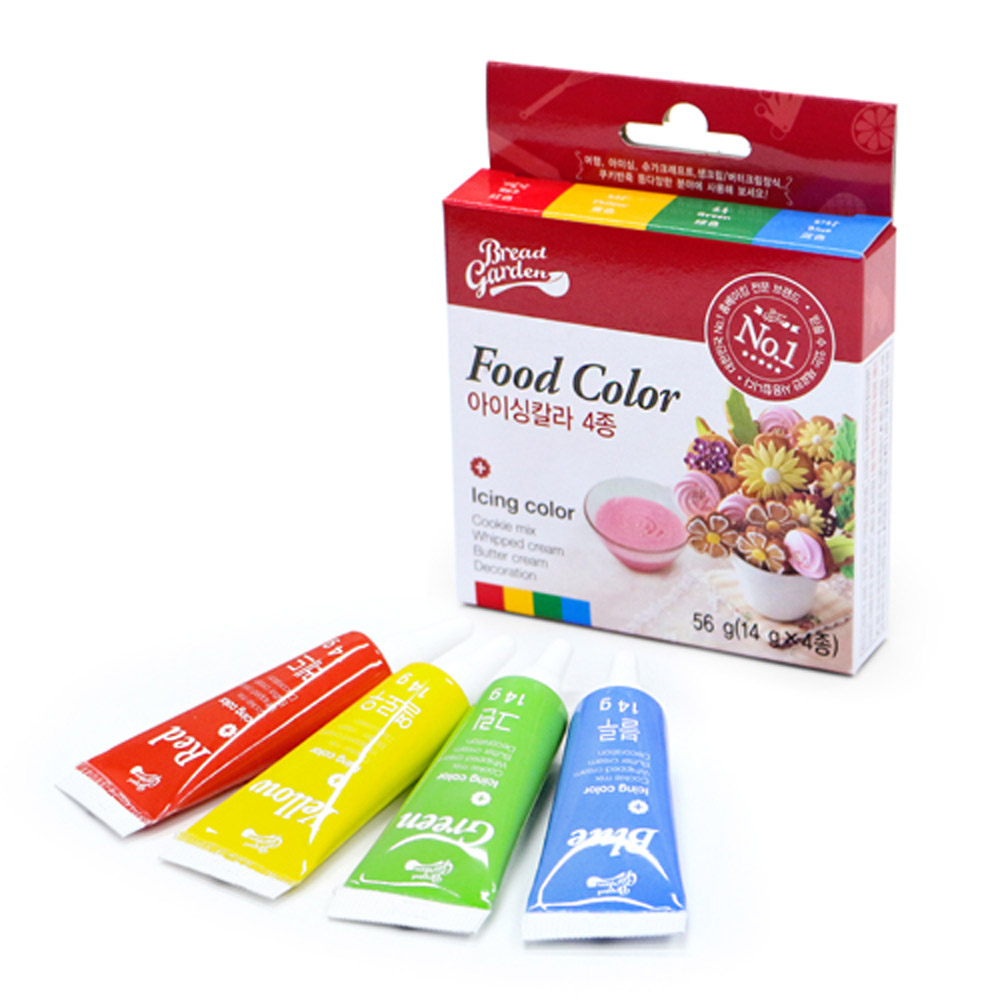 안전한 식용색소 - 기본4색세트 (아이싱칼라 마카롱색소), 단품