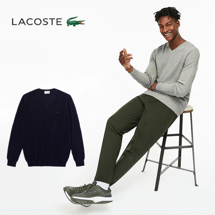 라코스테 브이넥 면 남성 니트 스웨터