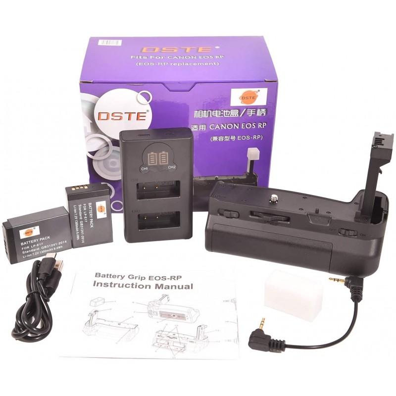 DSTE BG-EOSRP 수직 배터리 그립 + 2x LP-E17 배터리 팩 Canon EOS RP 카메라, 단일상품