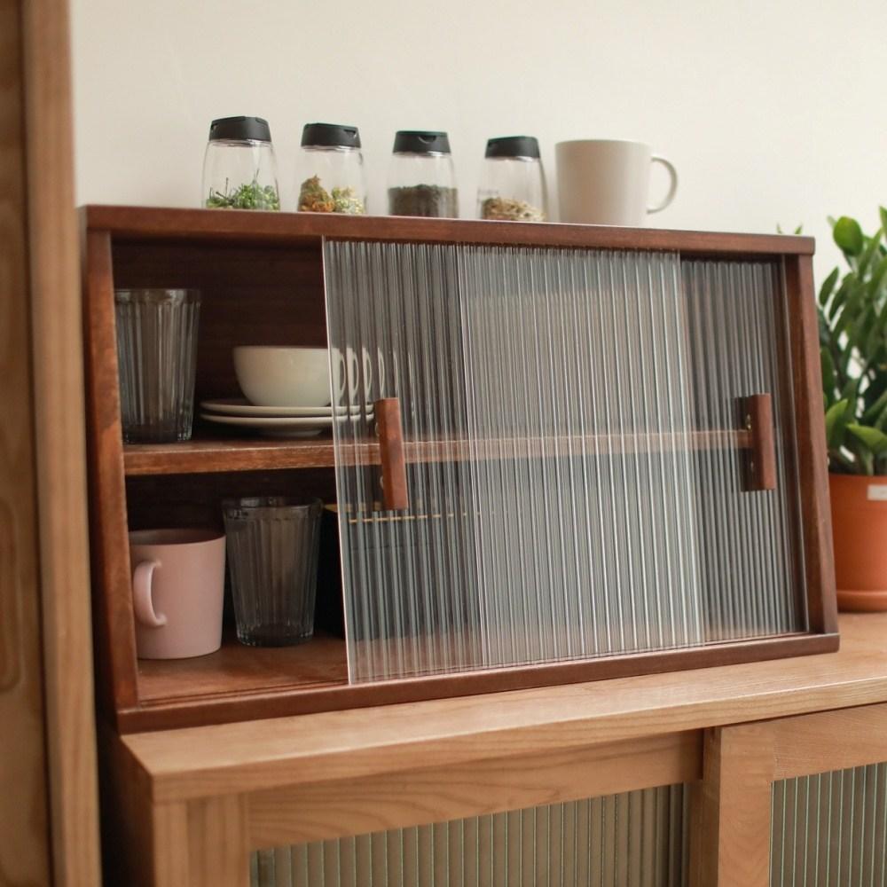 주방정리가구 빈티지 포플러 원목 그릇장 이중문 2단 찻장 컵보드 수납함