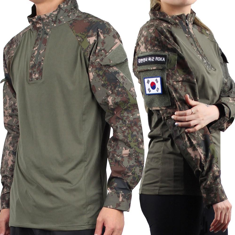 후아미 전술 컴뱃셔츠 신형 긴팔 디지털 국산 밀리터리 택티컬 군인 군용 티셔츠