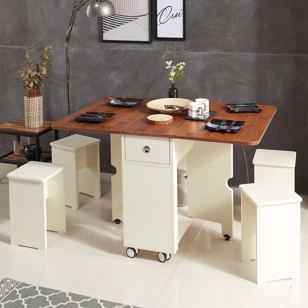 스킬디자인 프리티 접이식테이블+의자4개포함 세트구성 식탁, 테이블/아이보리+의자4개(아이보리)