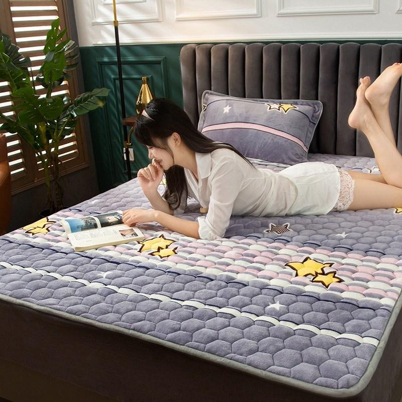 토퍼 템퍼 매트리스 침구 기타 겨울 기모 쿠션 학생 기숙사 싱글 담요 침대, AV_1.0 x 2m