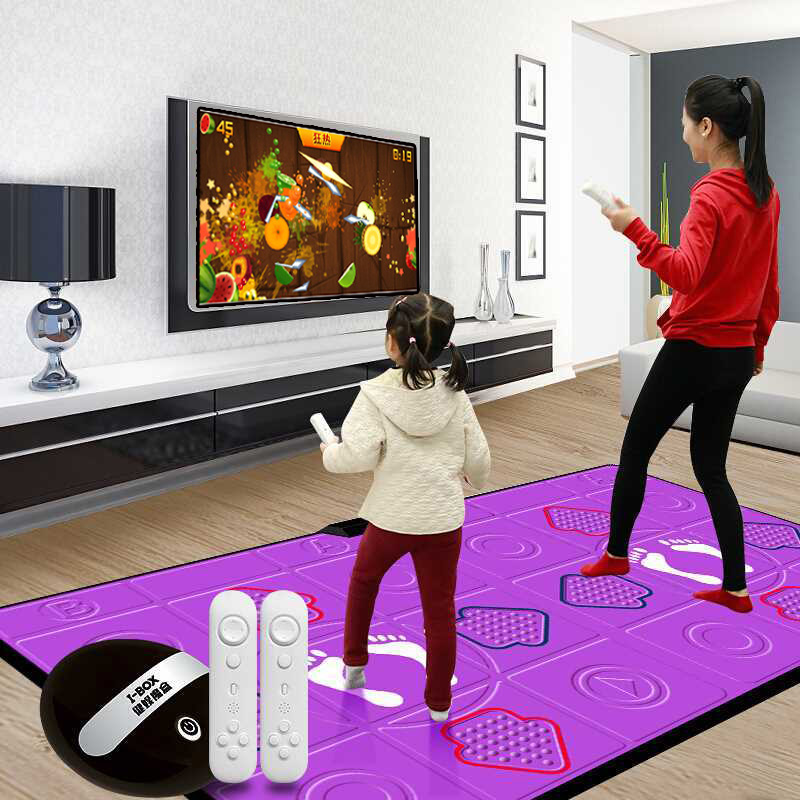 가정용 디디알 오락실 펌프게임 댄스 요가 DDR 매트, 1개, PU 무선 로즈 레드 + 춤 체성 감각 게임 + 달리기 + 듀얼 핸들