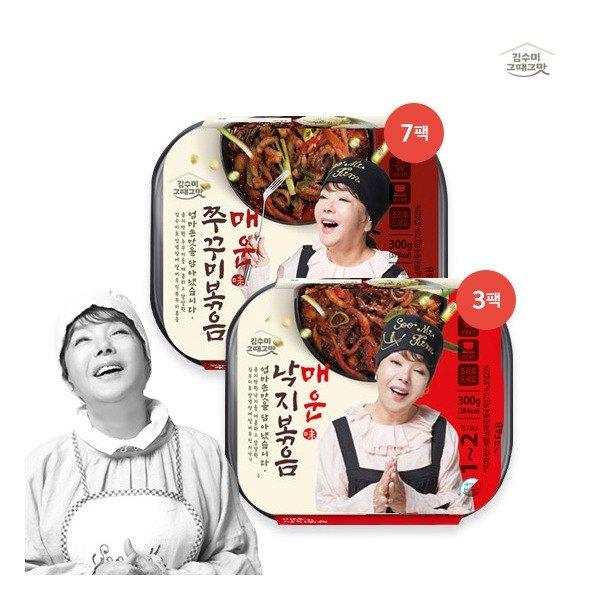 [김수미] [ 그때그맛]매운낙지볶음 300g*3팩+ 매운주꾸미볶음 300g*7팩, 상세 설명 참조