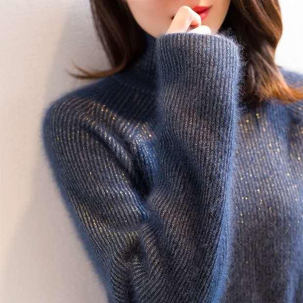 라쿤니트 가을과 겨울 골드 실크 너구리 벨벳 겉옷 터틀넥 스웨터 여성 불규칙한 니트 셔