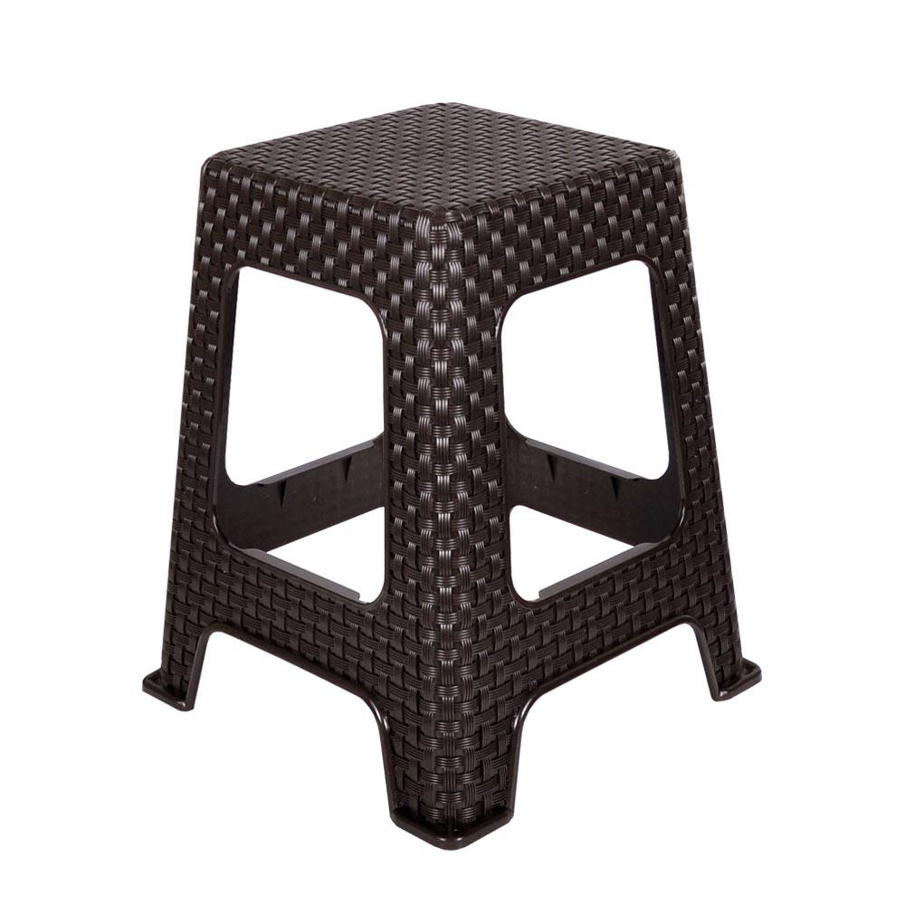 지오리빙 플라스틱 라탄 의자, 사각(브라운)