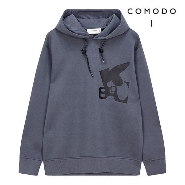 COMODO 코모도 그레이 그래픽 후드 티셔츠