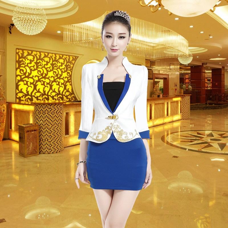 족욕 마사지사복 배기 작업복 호텔 족욕을 함 스파 여성, XXXL 블루 긴소매