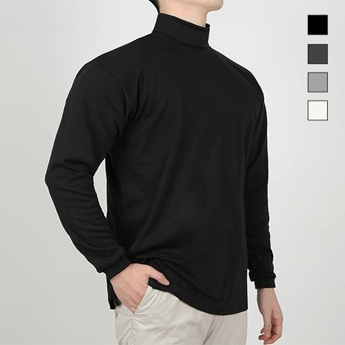 제이셔츠 남자 목 폴라 반목 긴목 터틀넥 목폴라 티 티셔츠 (검정 차콜 흰색 회색)