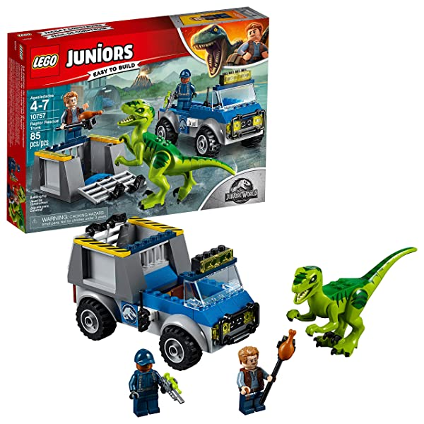 LEGO Juniors/4+ Jurassic World Raptor Rescue Truck 10757 Building Kit (85 Pieces), One Color