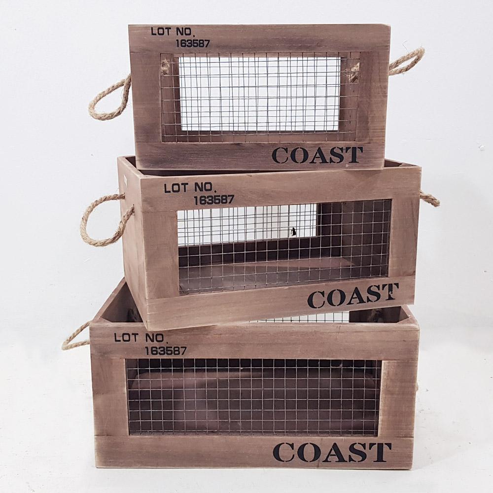 한소픈 철망 우드박스 (3P set) 수납함 나무상자 사과박스 정리용품 공간박스 빈티지 와인박스, 1개