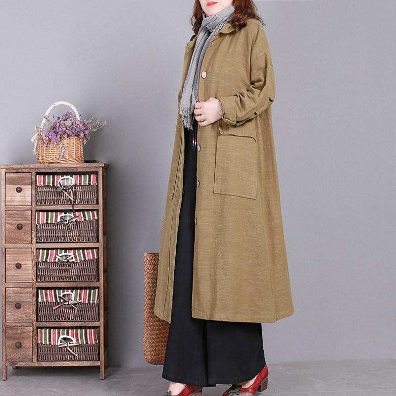 트렌치코트 문학 복고풍 모시 윈드 재킷 기질 단색 가을 여성 코트 카디건