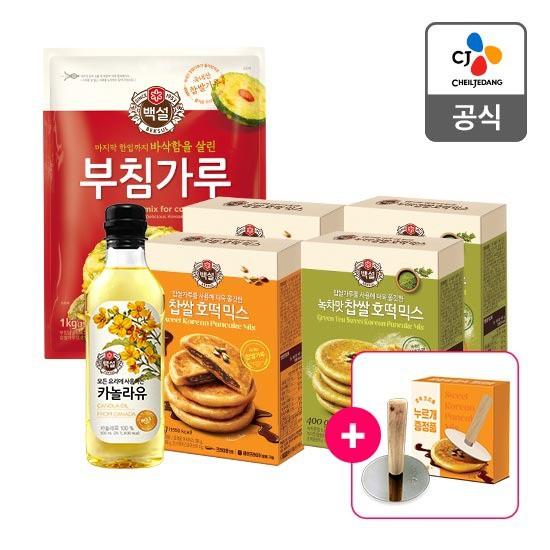 CJ백설 찹쌀/녹차 호떡믹스 6개+호떡누르개, 09. 찹쌀호떡믹스 x 3 + 핫케익믹스 x 3, 상세설명 참조