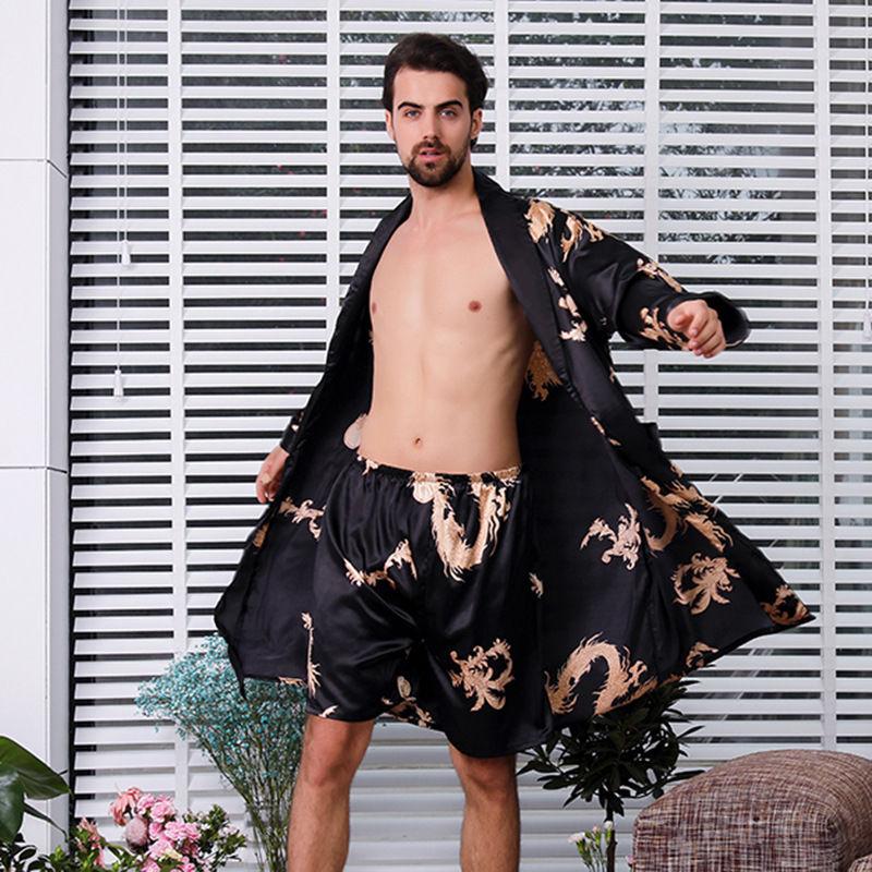 샤워가운 오버사이즈 실크 잠옷 남자얇은스타일 여름아이스사 홈웨어 특대사이즈 빅맨 패기있는느낌 용포, T01-175(XL), C01-블랙+반바지
