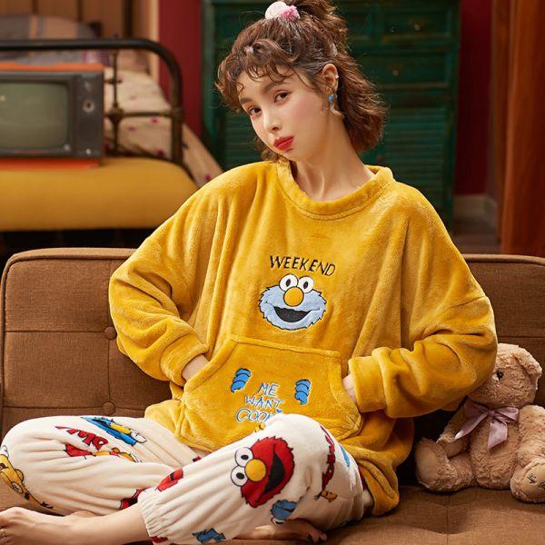 여성 겨울 엘모 수면잠옷 세트 파자마 상하의 빅사이즈 홈웨어