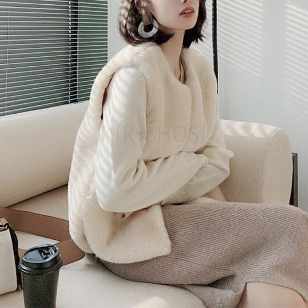 kirahosi 겨울 여성 퍼 모피 인조 밍크 조끼 베스트 110호 + 덧신 증정 AP4c3xu2